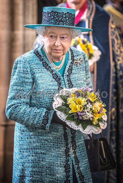 24 March 2016 - Queen Elizabeth II arrives in St Georges Chapel in Windsor for the traditional Maundy Thursday service where she distributed money to 180 people 90 men and 90 women symbolising her age. The Maundy service took place in St George's Chapel in Windsor the first time since 1959 that it has been held at the Royal Chapel. Maundy Thursday is the Christian holy day falling on the Thursday before Easter. It commemorates the Maundy and Last Supper of Jesus Christ with the Apostles. The Queen commemorates Maundy by offering 'alms' to senior citizens, retired pensioners recommended by clergy and ministers of all denominations, in recognition of service to the Church and to the local Community. During the Royal Maundy Service The Queen will distribute the Maundy money to 90 men and 90 women, one for each of The Queen's 90 years. Each recipient receives two purses, one red and one white. Recipients this year are drawn, not from a single diocese as is normally the case, but from across the country. This year the Red Purse contains a £5 coin, commemorating The Queen's ninetieth birthday, and a 50p coin commemorating the nine hundred and fiftieth anniversary of the Battle of Hastings. Both coins have been minted in 2016. Historically, the sum of £5.50 in the Red Purse is made up of £3 for clothing, £1.50 in lieu of provisions and £1 for the redemption of the Sovereign's gown which, before Tudor times, used to be divided between the Recipients. The White Purse contains uniquely minted Maundy Money. This takes the form of one, two, three and four silver penny pieces, the sum of which equals the number of years of the Monarch's age. This year ninety pennies of silver coins (9 sets of 10p per set) will be distributed. Royal Maundy is one of the most ancient ceremonies retained in the Church of England. Photo Credit: ALPR/AdMedia