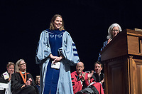 Wendy Sternberg, Vice President for Academic Affairs and Dean of the College and philosophy Associate Professor Clair Morrissey, recipient of the Linda and Tod White Teaching Prize.<br /> The class of 2021 are welcomed to Occidental College by trustees, faculty and staff in Thorne Hall on Aug. 29, 2017 during Oxy's 130th Convocation ceremony, a tradition that formally marks the start of the academic year and welcomes the new class.<br /> (Photo by Marc Campos, Occidental College Photographer)