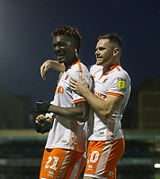 Blackpool's Armand Gnanduillet celebrates scoring his side's second goal with Oliver Turton<br /> <br /> Photographer Rob Newell/CameraSport<br /> <br /> The EFL Sky Bet League One - Southend United v Blackpool - Saturday 17th November 2018 - Roots Hall - Southend<br /> <br /> World Copyright © 2018 CameraSport. All rights reserved. 43 Linden Ave. Countesthorpe. Leicester. England. LE8 5PG - Tel: +44 (0) 116 277 4147 - admin@camerasport.com - www.camerasport.com