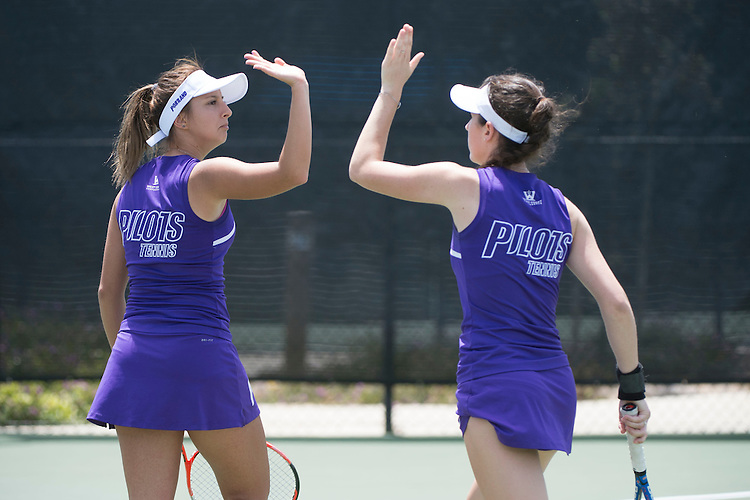 April 23, 2014; San Diego, CA, USA; Portland Pilots player Maja Mladenovic (left) and Tori Troesch (right) during the WCC Tennis Championships at Barnes Tennis Center.