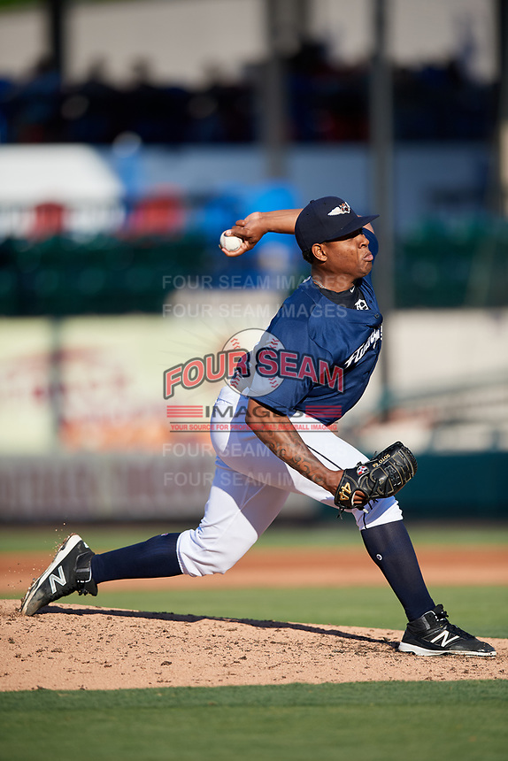 Lakeland Flying Tigers starting pitcher Gregory Soto (30) delivers a pitch during the first game of a doubleheader against the Bradenton Marauders on April 11, 2018 at Publix Field at Joker Marchant Stadium in Lakeland, Florida.  Lakeland defeated Bradenton 5-4.  (Mike Janes/Four Seam Images)