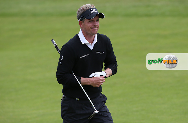 Luke Donald (ENG) playing up the first during Round Three of the 2015 Aberdeen Asset Management Scottish Open, played at Gullane Golf Club, Gullane, East Lothian, Scotland. /11/07/2015/. Picture: Golffile | David Lloyd<br /> <br /> All photos usage must carry mandatory copyright credit (&copy; Golffile | David Lloyd)