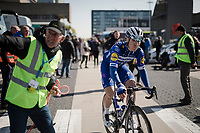 defending race champion Fabio JAKOBSEN (NED/Deceuninck-Quick Step) at the race start in Terneuzen (NED)<br /> <br /> 107th Scheldeprijs (1.HC)<br /> One day race from Terneuzen (NED) to Schoten (BEL): 202km<br /> <br /> ©kramon
