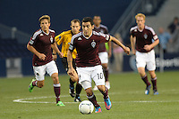 Rapids midfielder Martin Rivero (10) taking the ball up field..Sporting Kansas City defeated Colorado Rapids 2-0 in Open Cup play at LIVESTRONG Sporting Park, Kansas City, Kansas.