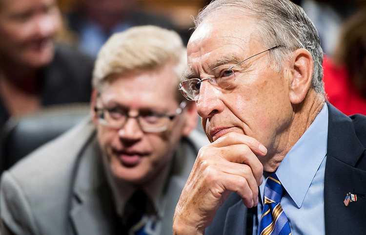 UNITED STATES - JUNE 28: Chairman Sen. Chuck Grassley, R-Iowa, waits for members to arrive before the start of the Senate Judiciary Committee markup hearing on Thursday, June 28, 2018. (Photo By Bill Clark/CQ Roll Call)