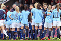 Arsenal women shake hands with Manchester City women before Arsenal Women vs Manchester City Women, FA Women's Super League Football at Meadow Park on 11th May 2019