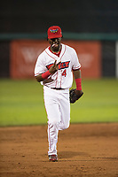 Orem Owlz center fielder D'Shawn Knowles (4) jogs off the field between innings of a Pioneer League game against the Ogden Raptors at Home of the OWLZ on August 24, 2018 in Orem, Utah. The Ogden Raptors defeated the Orem Owlz by a score of 13-5. (Zachary Lucy/Four Seam Images)