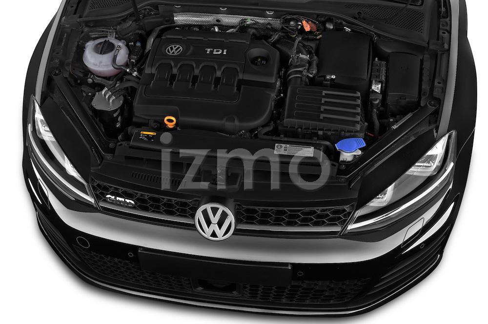 Car Stock 2014 Volkswagen GOLF GTD 5 Door Hatchback Engine high angle detail view