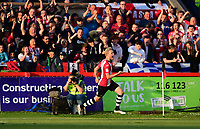 Exeter City's Jayden Stockley celebrates scoring the opening goal<br /> <br /> Photographer Chris Vaughan/CameraSport<br /> <br /> The EFL Sky Bet League Two Play Off Second Leg - Exeter City v Lincoln City - Thursday 17th May 2018 - St James Park - Exeter<br /> <br /> World Copyright &copy; 2018 CameraSport. All rights reserved. 43 Linden Ave. Countesthorpe. Leicester. England. LE8 5PG - Tel: +44 (0) 116 277 4147 - admin@camerasport.com - www.camerasport.com