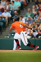 Richmond Flying Squirrels right fielder Luigi Rodriguez (6) follows through on a swing during a game against the Trenton Thunder on May 11, 2018 at The Diamond in Richmond, Virginia.  Richmond defeated Trenton 6-1.  (Mike Janes/Four Seam Images)