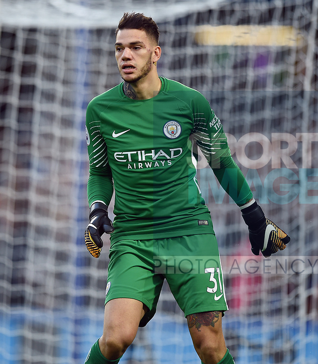 Manchester City goalkeeper Ederson during the premier league match at the Stamford Bridge stadium, London. Picture date 30th September 2017. Picture credit should read: Robin Parker/Sportimage