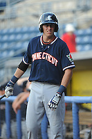 Connecticut Tigers infielder Dominic Ficociello (55) during game against the Staten Island Yankees at Richmond County Bank Ballpark at St.George on July 7, 2013 in Staten Island, NY.  Staten Island defeated Connecticut 6-2.  (Tomasso DeRosa/Four Seam Images)