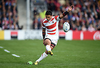 Ayumu Goromaru of Japan kicks for the posts. Rugby World Cup Pool B match between Scotland and Japan on September 23, 2015 at Kingsholm Stadium in Gloucester, England. Photo by: Patrick Khachfe / Stewart Communications
