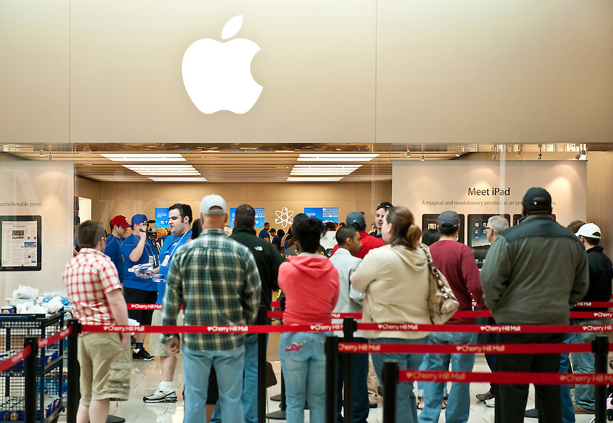 Preorder customers wait to be admitted to the Apple store to pick up their iPad, Cherry Hill Mall, NJ, USA,