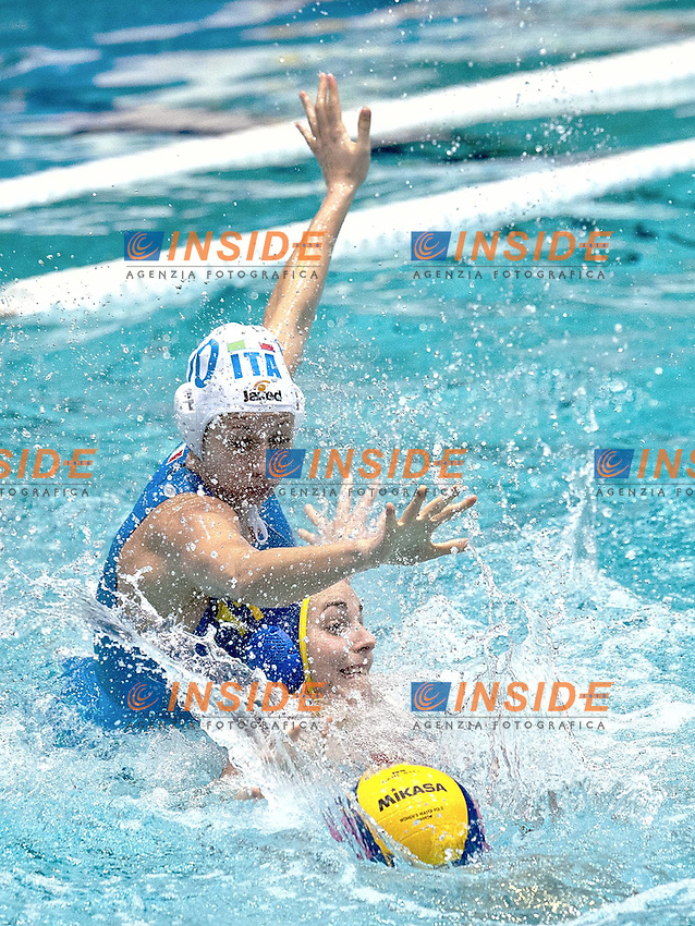 Eindhoven , Netherlands (NED) 20/1/2012.LEN European  Water Polo Championships 2012.Day 05 - Women.Italia (White) - Spain (Blue).10 RAMBALDI GUIDASCI Giulia  - 11 GARCIA Carmen.Photo Insidefoto / Giorgio Scala