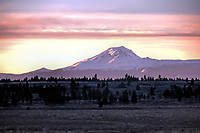 Looking westward during a winter sunset toward the Three Sisters Wilderness, Oregon.