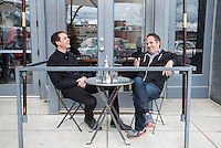 """Kimbal Musk (cq, left) and Chef Hugo Matheson (cq) at The Kitchen in Boulder, Colorado, Friday, March 13, 2015. Musk is CEO of The Kitchen restaurant group, with its flagship in Boulder. It is a """"farm-to-table"""" restaurant serving good food at decent prices. Musk also heads Learning Gardens, a non-profit that puts classroom-size gardens in schools so kids can center a curriculum around growing food.  <br /> <br /> Photo by Matt Nager"""