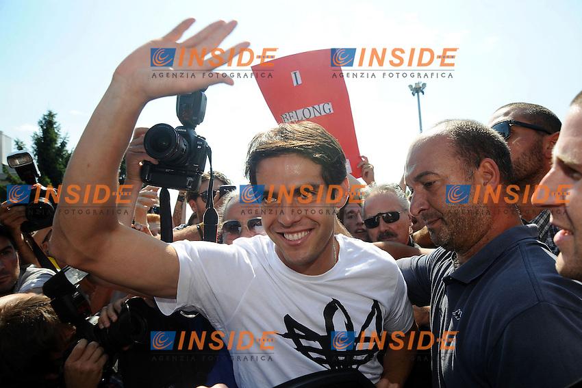 Ricardo Kaka' arriva a Milano dopo il trasferimento dal Real Madrid al Milan <br /> Ricardo Kaka arrives at Linate airport <br /> Milano 02/09/2013 Linate Airport <br /> foto Andrea Ninni/Image Sport/Insidefoto