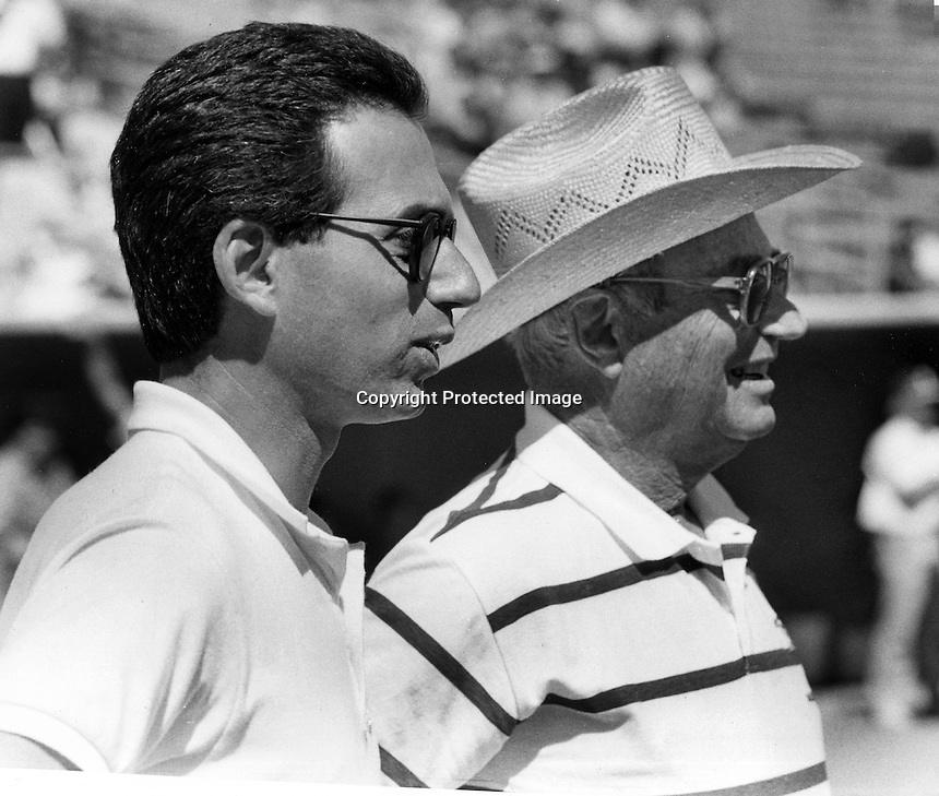 Oakland Athletics owner, Walter A. Haas Jr. (right) and his son Walter J. Haas,President and CEO<br /> in Arizona for Spring Training 1991.  (photo/Ron Riesterer)