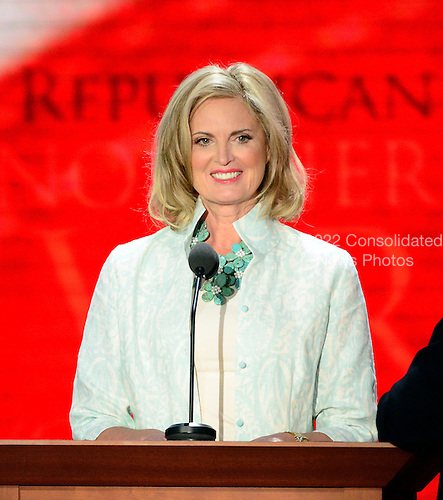 Anne Romney participates in a microphone check prior to the start of the day's program at the 2012 Republican National Convention in Tampa Bay, Florida on Tuesday, August 28, 2012.  .Credit: Ron Sachs / CNP.(RESTRICTION: NO New York or New Jersey Newspapers or newspapers within a 75 mile radius of New York City)