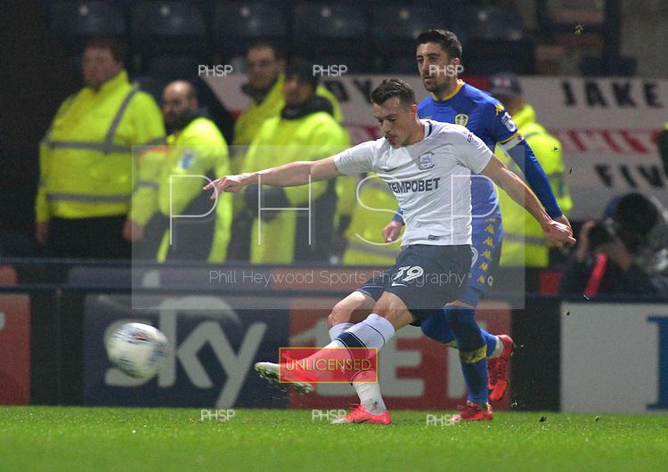 10/04/2018 Sky Bet League Championship Preston North End v Leeds United<br /> <br /> Billy Bodin shoots at goal