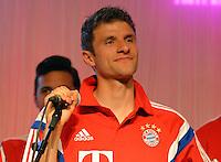 FUSSBALL  DFB POKAL FINALE  SAISON 2013/2014 Borussia Dortmund - FC Bayern Muenchen     17.05.2014 FC Bayern Bankett in der Telekom Zentrale;  Thomas Mueller