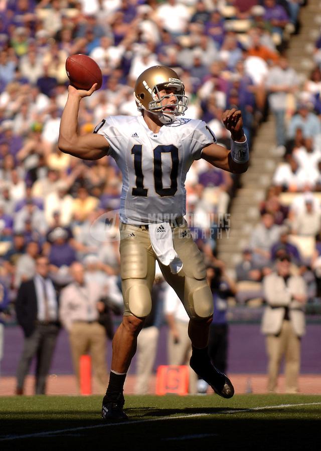 Sep 24, 2005; Seattle, WA, USA; Notre Dame quarterback (10) Brady Quinn against the Washington Huskies at Husky Stadium. Mandatory Credit: Photo By Mark J. Rebilas