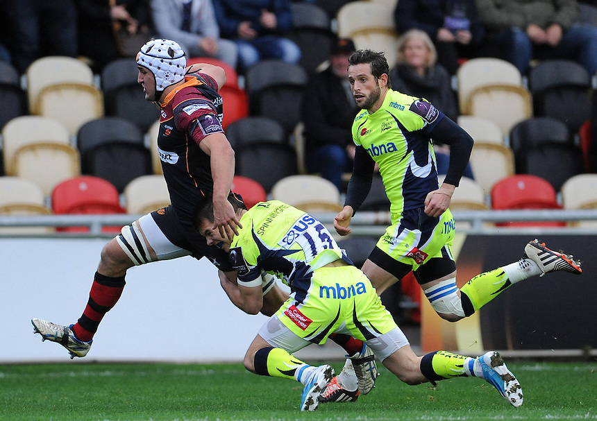 Newport Gwent Dragons' Ollie Griffiths goes onto scores his sides first try<br /> <br /> Photographer Ian Cook/CameraSport<br /> <br /> Rugby Union - European Rugby Challenge Cup Pool 2 - Newport Gwent Dragons v Sale Sharks - Sunday 15th November 2015 - Rodney Parade - Newport<br /> <br /> &copy; CameraSport - 43 Linden Ave. Countesthorpe. Leicester. England. LE8 5PG - Tel: +44 (0) 116 277 4147 - admin@camerasport.com - www.camerasport.com