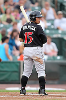 Indianapolis Indians third baseman Akinori Iwamura during a game vs. the Rochester Red Wings at Frontier Field in Rochester, New York;  July 17, 2010.   Indianapolis defeated Rochester 10-7.  Photo By Mike Janes/Four Seam Images
