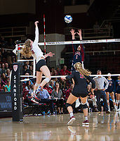 STANFORD, CA - December 1, 2018: Meghan McClure, Morgan Hentz at Maples Pavilion. The Stanford Cardinal defeated Loyola Marymount 25-20, 25-15, 25-17 in the second round of the NCAA tournament.