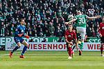 13.04.2019, Weserstadion, Bremen, GER, 1.FBL, Werder Bremen vs SC Freiburg<br /> <br /> DFL REGULATIONS PROHIBIT ANY USE OF PHOTOGRAPHS AS IMAGE SEQUENCES AND/OR QUASI-VIDEO.<br /> <br /> im Bild / picture shows<br /> Tor 1:0, Davy Klaassen (Werder Bremen #30) mit Kopfball zum 1:0 gegen Alexander Schwolow (SC Freiburg #01), Nico Schlotterbeck (SC Freiburg #49) wird von Klaassen angeköpft, <br /> <br /> Foto © nordphoto / Ewert
