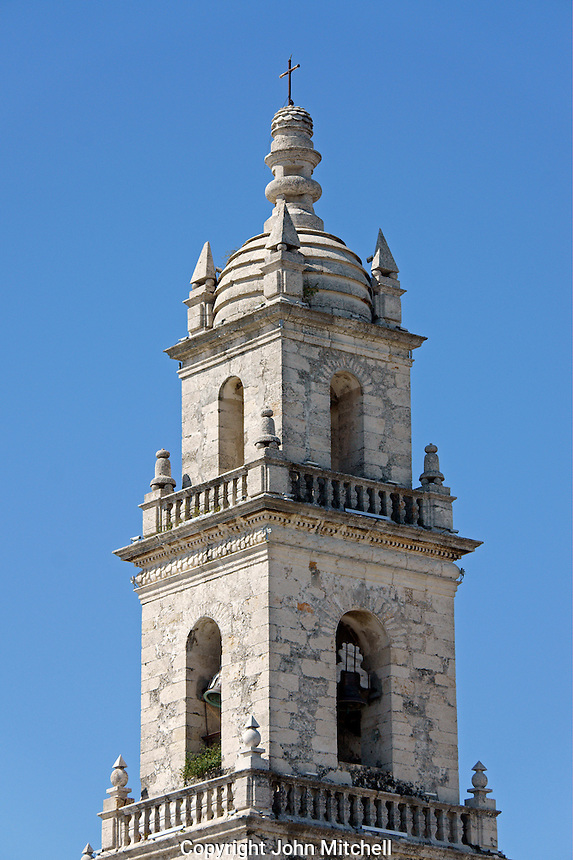 Bell tower of the 16th century Catedral San Ildefonso cathedral in downtown Merida, Yucatan, Mexico...