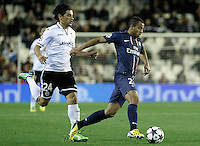 Valencia CF's Tino Costa (l) and Paris Saint-Germain's Lucas during Champions League 2012/2013 match.February 12,2013. (ALTERPHOTOS/Acero) /NortePhoto