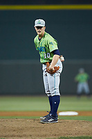 Lynchburg Hillcats starting pitcher Zach Plesac (30) looks to his catcher for the sign against the Winston-Salem Dash at BB&T Ballpark on May 1, 2018 in Winston-Salem, North Carolina. The Dash defeated the Hillcats 9-0. (Brian Westerholt/Four Seam Images)