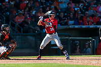 Gonzaga Bulldogs first baseman Brett Harris (30) at bat during a game against the Oregon State Beavers on February 16, 2019 at Surprise Stadium in Surprise, Arizona. Oregon State defeated Gonzaga 9-3. (Zachary Lucy/Four Seam Images)