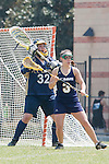 Los Angeles, CA 04/18/10 - Nicole Crayton (UC Davis # 3) and Miriam Kolni (UC Davis # 32) in action during the 2010 Western Women Lacrosse League Championship game between UC Davis and Cal Poly SLO for third place, hosted by UCLA.  UC Davis edged Cal Poly SLO 8-7 in overtime.