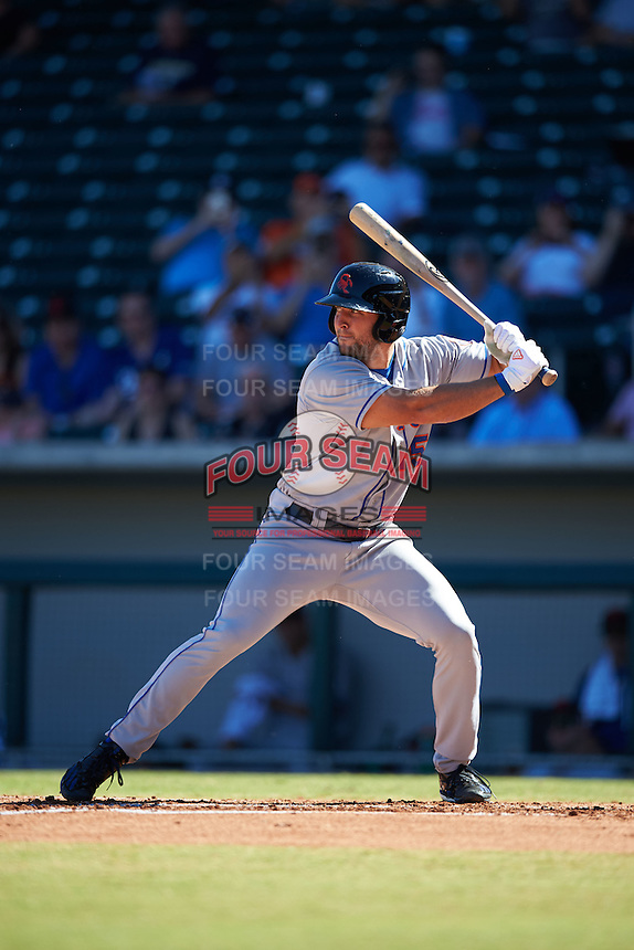 Scottsdale Scorpions designated hitter Tim Tebow (15), of the New York Mets organization, at bat in the second inning during a game against the Mesa Solar Sox on October 18, 2016 at Sloan Park in Mesa, Arizona.  Mesa defeated Scottsdale 6-3.  (Mike Janes/Four Seam Images)