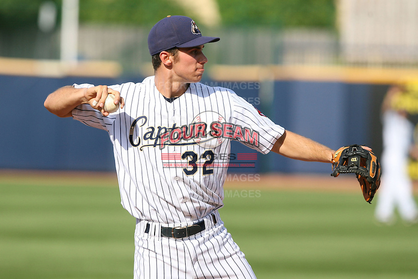 June 11th 2008:  Jeff Hehr of the Lake County Captains, Class-A affiliate of the Cleveland Indians, during a game at Classic Park in Eastlake,OH.  Photo by:  Mike Janes/Four Seam Images
