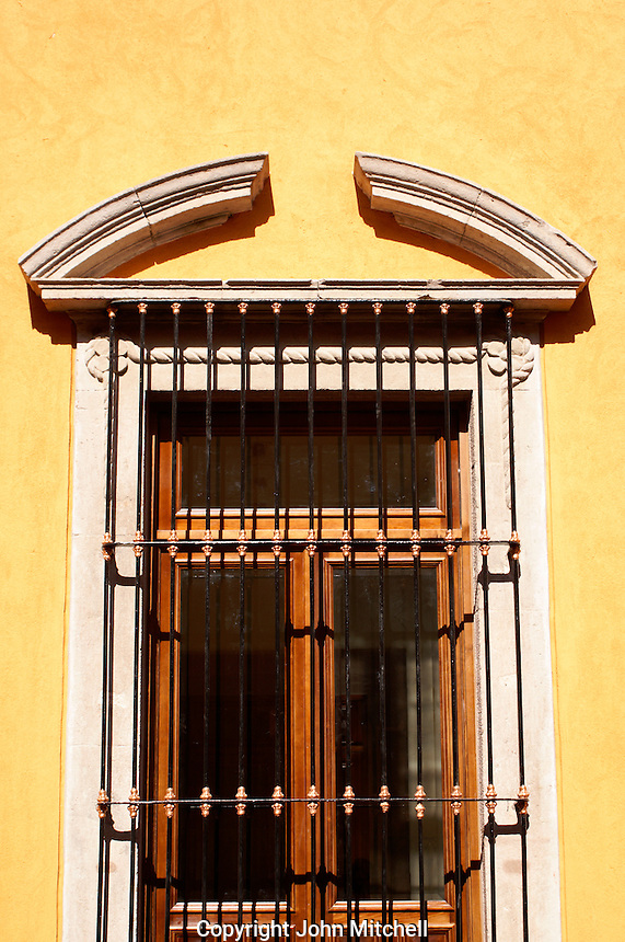 Window of Spanish colonial window in the city of San Luis de Potosi, Mexico