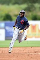 Xavier LeGrant (23) of Phillip O Berry High School in Charlotte, North Carolina playing for the Cleveland Indians scout team during the East Coast Pro Showcase on July 31, 2014 at NBT Bank Stadium in Syracuse, New York.  (Mike Janes/Four Seam Images)