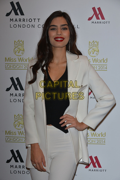 Miss Turkey  Amine G&Uuml;LŞE<br /> photocall for Miss World 2014 contestants in central London, on November 25, 2014. This year's Miss World contest will take place in London on December 14, 2014<br /> CAP/PL<br /> &copy;Phil Loftus/Capital Pictures