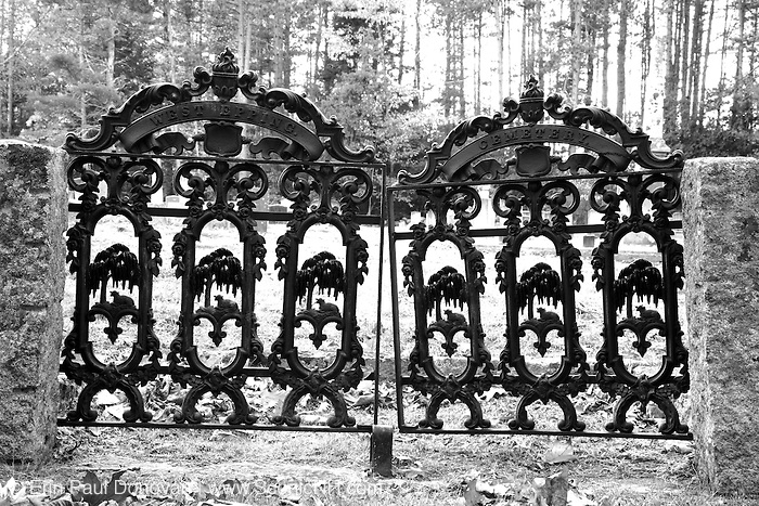 Cemetery gate during the autumn months. Located in West Epping, New Hampshire USA which is part of scenic New England