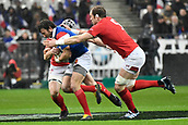 February 1st 2019, St Denis, Paris, France: 6 Nations rugby tournament, France versus Wales;  Maxime Medard (fr) is tackled by Alun-Wyn Jones (wal)