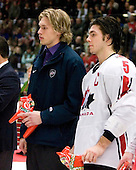Erik Johnson (Bloomington, Minnesota - University of Minnesota) and Kristopher Letang (Ste-Julie, QC - Foreurs de Val d'Or) were named Media All-Stars. Team Canada (gold), Team Russia (silver) and Team USA line up for the individual awards and team medal presentations following Team Canada's 4-2 victory over Team Russia to win the gold in the 2007 World Championship on Friday, January 5, 2007 at Ejendals Arena in Leksand, Sweden.