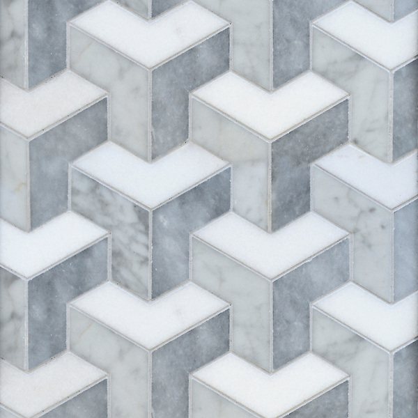 Francois Grand, a waterjet mosaic shown in honed Carrara, Thassos, and Allure, is part of the Illusions® collection by New Ravenna.