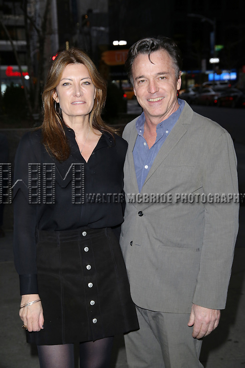 Lia Vollack and Derek McLane  attends 'The Robber Bridegroom' Off-Broadway Opening Night performance at Laura Pels Theatre on March 13, 2016 in New York City.
