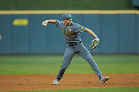 Baylor Bears shortstop Nick Loftin (2) makes a throw to first base against the Arkansas Razorbacks in game nine of the 2020 Shriners Hospitals for Children College Classic at Minute Maid Park on March 1, 2020 in Houston, Texas. The Bears defeated the Razorbacks 3-2. (Brian Westerholt/Four Seam Images)