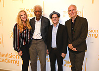 """LOS ANGELES - JUNE 5:  Lori McCreary, Morgan Freeman, Matthew Carey and James Younger attend an FYC event for National Geographic's """"The Story of God"""" at the TV Academy on June 5, 2019 in Los Angeles, California. (Photo by Scott Kirkland/National Geographic/PictureGroup)"""
