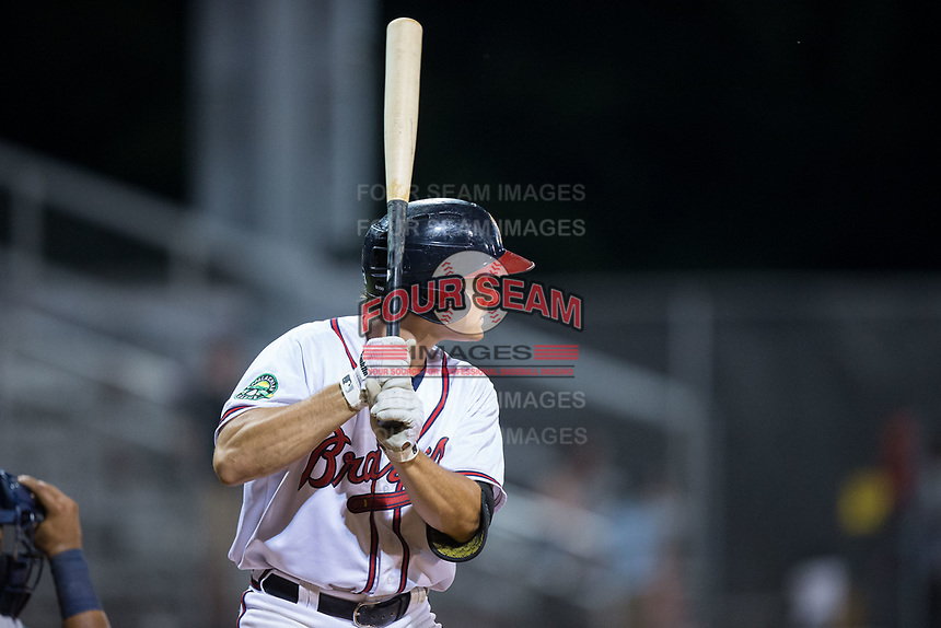 Bradley Keller (13) of the Danville Braves at bat against the Princeton Rays at American Legion Post 325 Field on June 25, 2017 in Danville, Virginia.  The Braves walked-off the Rays 7-6 in 11 innings.  (Brian Westerholt/Four Seam Images)