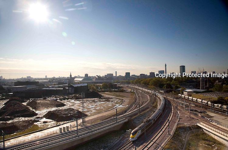 A Eurostar train departs St Pancras station heading for paris